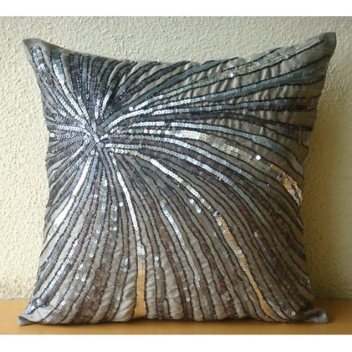 Designer Grey Accent Pillows, Metallic Sequins and Beaded Pinwheel Glitter Pillows Cover, 14