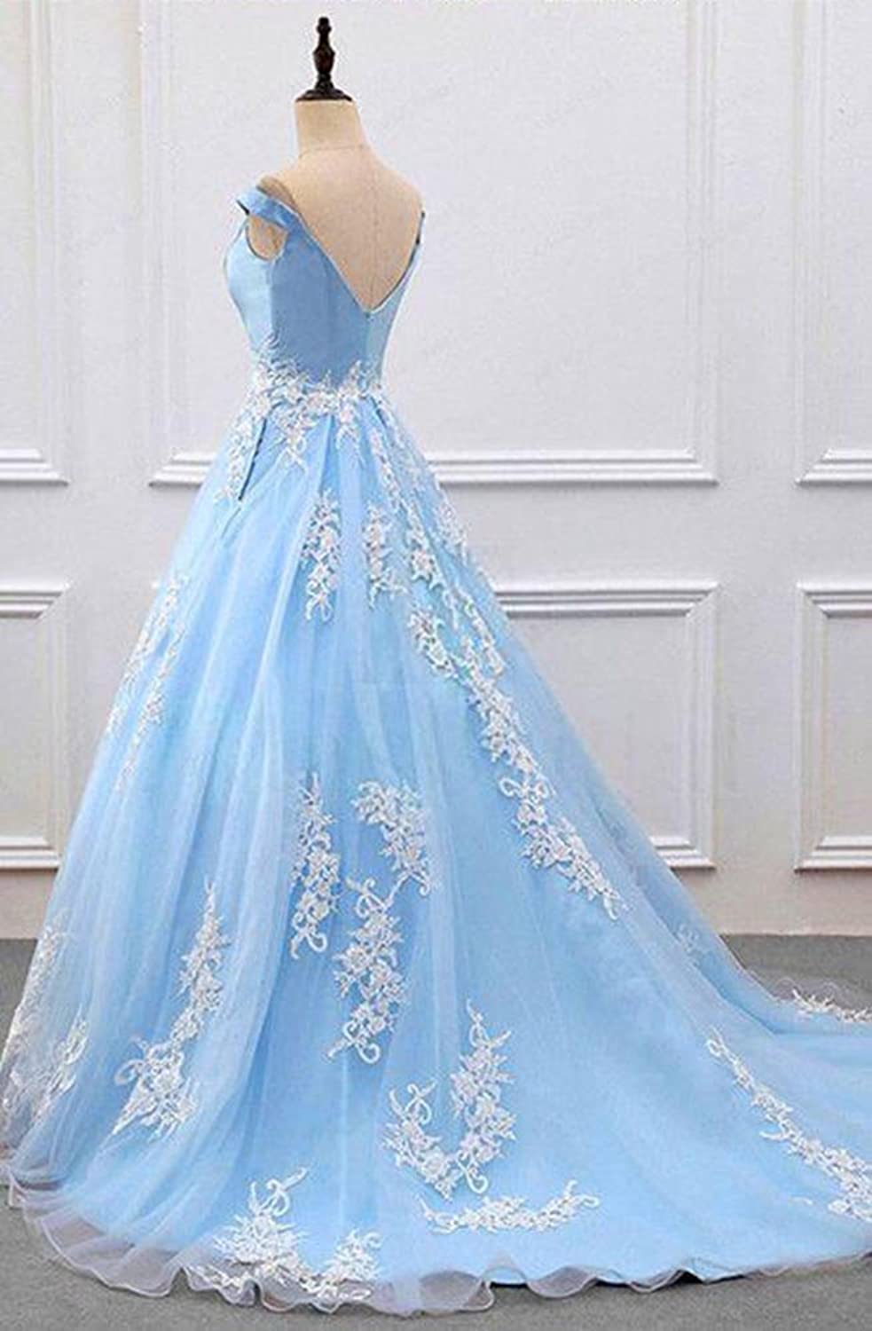 2018 Light Blue Ball Gowns Prom Dresses with Pockets Long Lace Off ...