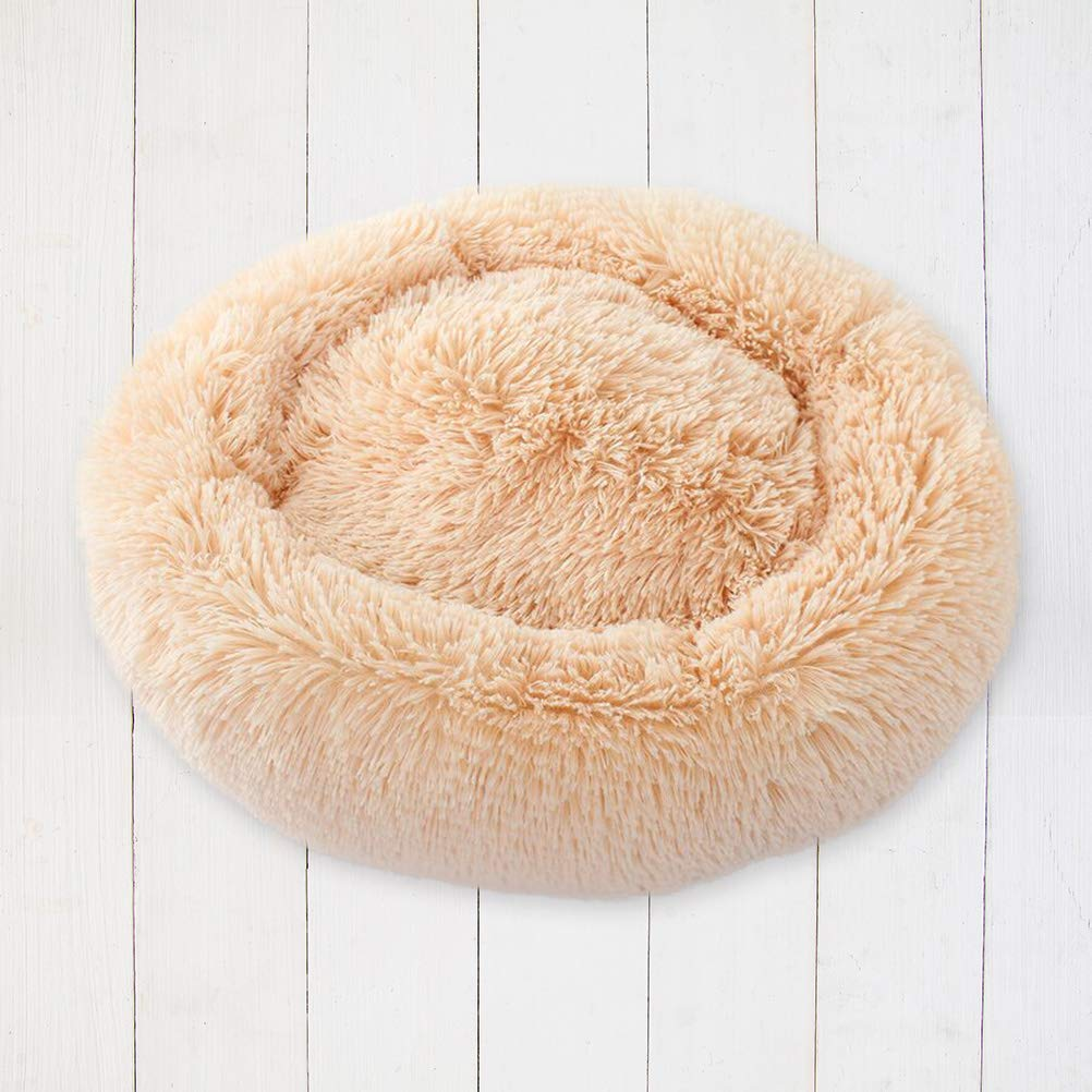 POPETPOP Luxury Shag Fur Donut Cuddler Round Cat and Dog Cushion Bed Self-Warming and Cozy for Improved Sleep (Big Size, Beige) by POPETPOP (Image #7)