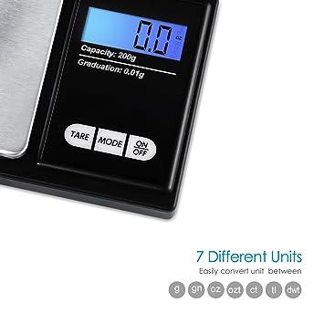 Amir precisión Pocket Escala 200 G/0.01g - Cocina o joyas báscula de precisión con pantalla táctil, función de tara - acero inoxidable (negro): Amazon.es: ...