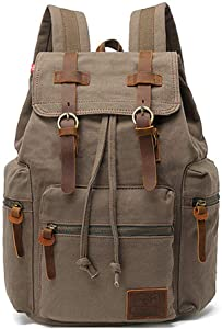 "High Capacity Canvas Vintage Backpack - for School Hiking Travel 12-15.6"" Laptop"