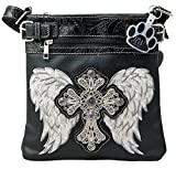 HW Collection Western Rhinestone Cross With Wings Concealed Carry Crossbody Handbag Purse (Pewter)