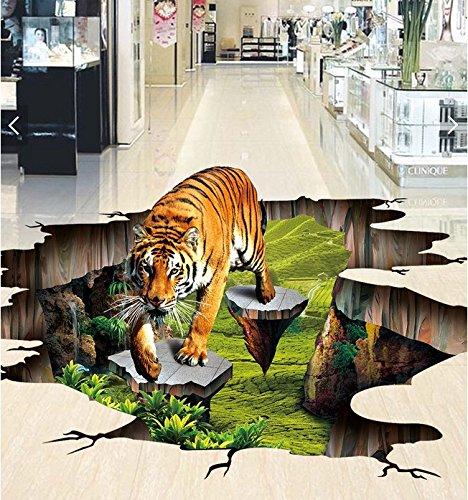 XLI-You 3D Wallpaper Custom Photo 3D Flooring Mural Self - Adhesion Wall Sticker 3D Tiger Outdoors to Draw Painting 3D Wall Room Murals Wallpaper Sticker Mural ()