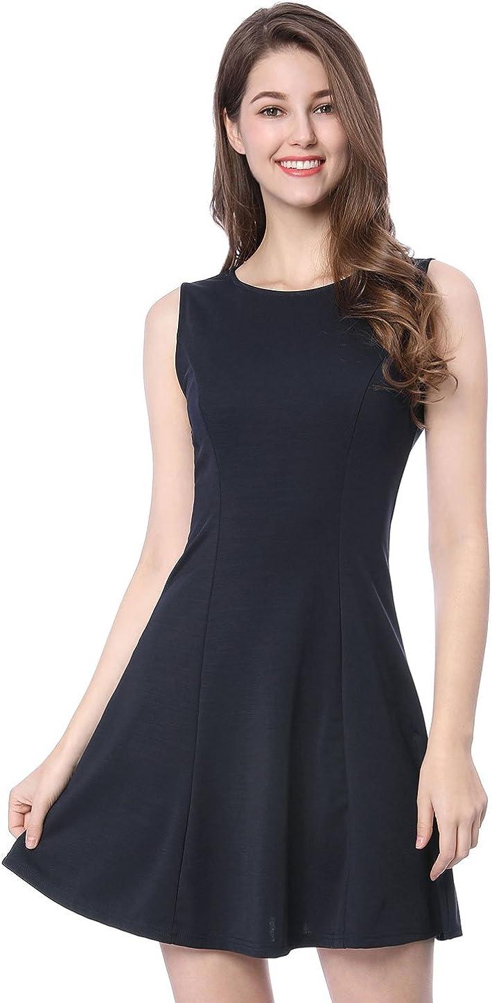 Allegra K Women's Sleeveless Keyhole A-Line Above Knee Flare Dress Dress