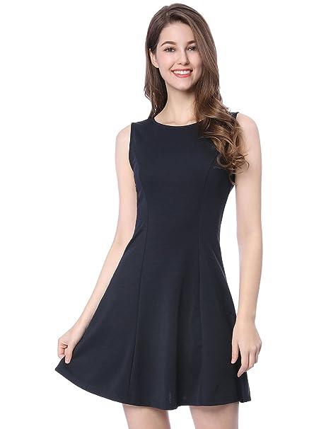 ff4e2fdff17 Allegra K Women s Summer Solid Zipper Sleeveless Keyhole Back A-Line Mini  Dress S Blue