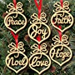 Fheaven 6Pcs Wooden Ornament Xmas Tree Hanging Tags Pendant Decor Christmas Decorations