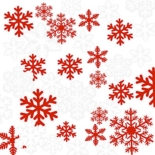 Chengu 135 Pieces Totally Christmas Snowflake Window Stickers White Red Snowflake Cling Decals for Christmas New Year Party Decoration -