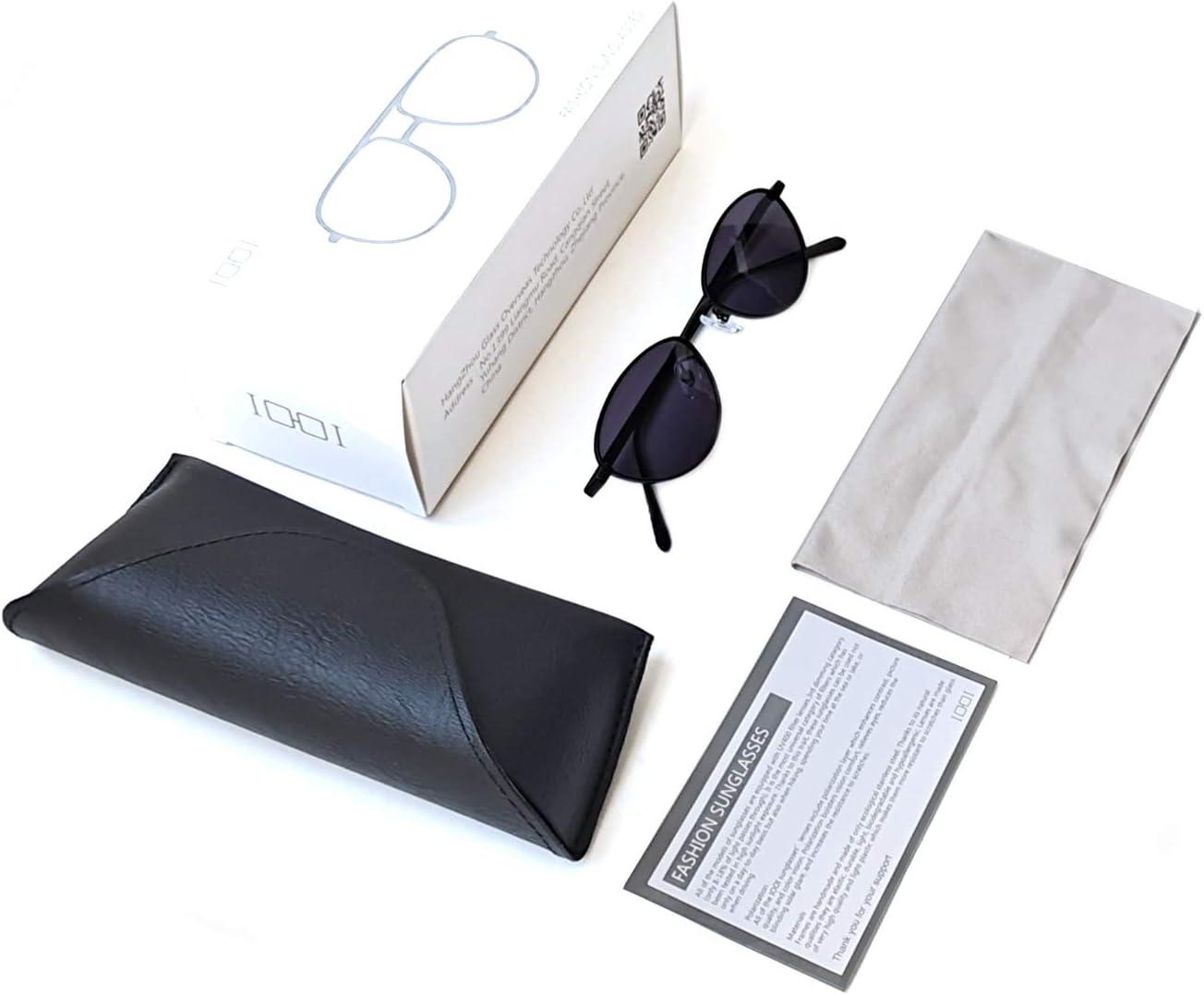 IOOI Sunglasses Anti-Blue Light Oval cat Eye Small Glasses for Women Light Metal Frame and pc Lens Black Sunglasses
