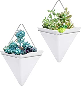 2 Pack Hanging Planter Vase Geometric Wall Decor Ceramic Container Wall Planters Hanging with Metal Frame for Succulent Plants Air Plant Mini Cactus Faux Plants (Large, White+Sliver)