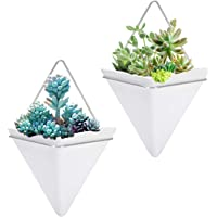 2 Pack Hanging Planter Vase Geometric Wall Decor Ceramic Container Wall Planters Hanging with Metal Frame for Succulent…