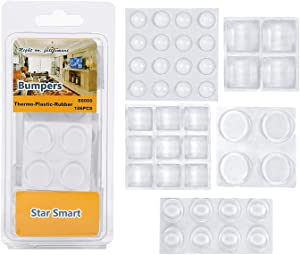 Clear Adhesive Bumper Pads 106-PC Combo Pack (Round, Spherical, Square) Sound Dampening Transparent Rubber Feet for Cabinet Doors, Drawers, Glass Tops, Picture Frames, Cutting Boards