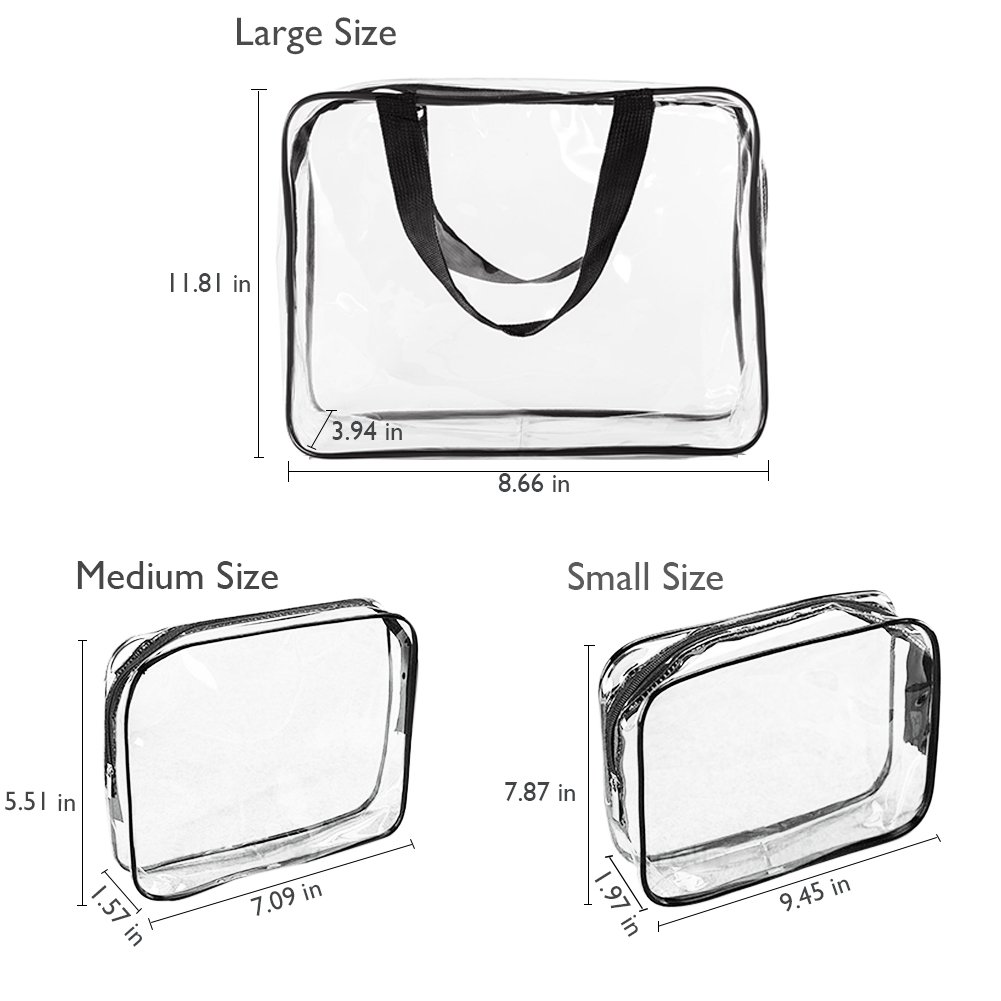 6Pcs Clear Makeup Bags, Portable Cosmetic Bags Waterproof Clear PVC with Zipper Handle