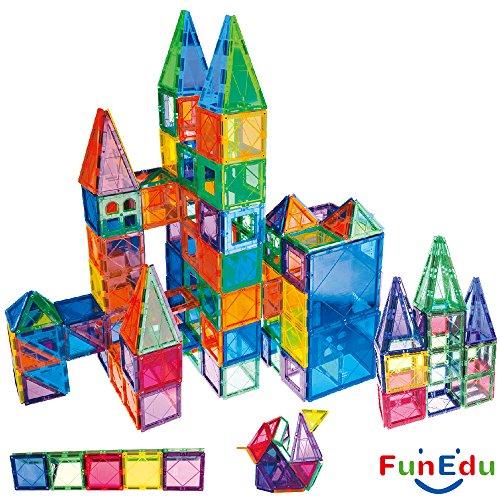 100-piece Magnetic tiles Building Blocks Toys Set, Super Strong Magnets, Vivid Clear Color Tiles, Two Wheel Bases, Four Windows, for toddlers kids. - 4 Base Set