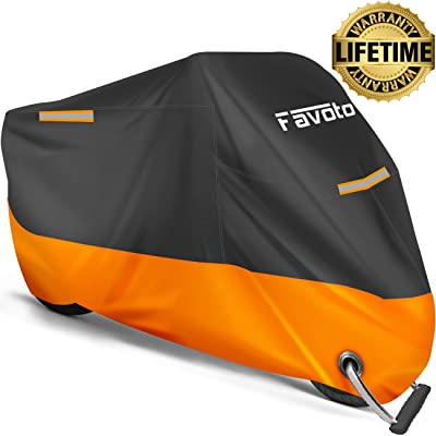 Favoto Motorcycle Cover All Season Universal Weather 210D Material Waterproof Windproof Outdoor Durable Reflective Stripe with Lock-Holes & Storage Bag Vehicle Cover 96.5 inch: Automotive