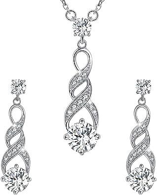 Magnifique superbe Diamants Pierres pour Femme Collier Élégant Boucles d/'oreilles Set