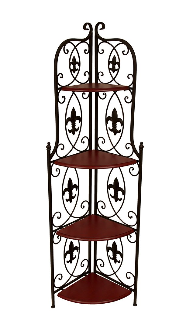 Decorative Brown 4 Shelf Fleur De Lis Metal Corner Rack 59 In. by Zeckos