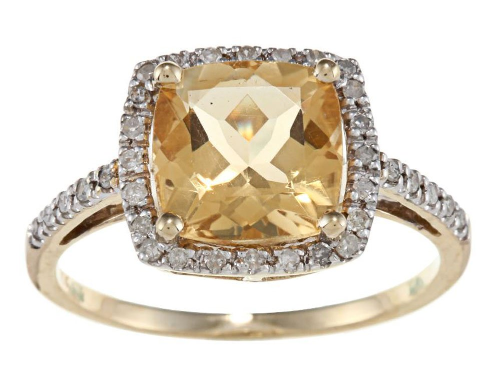 10k Yellow Gold Cushion Citrine and Diamond Halo Ring by Instagems