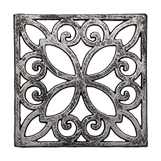 Comfify Decorative Cast Iron Trivet for Kitchen Or Dining Table | Square with Vintage Pattern - 6.5 x 6.5 | with Rubber Pegs/Feet - Recycled Metal | Vintage, Rustic Design