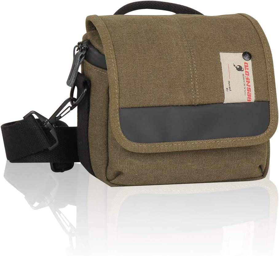 Besnfoto Mirrorless Camera Shoulder Bag Small Messenger Case Compact Waist Bag Waterproof Compatible for Canon EOS M10 M6 M2 Mrak M50 M100 Nikon P600 D5100 D5300 Sony RX10M3 Olympus E-M10 (Army Green)
