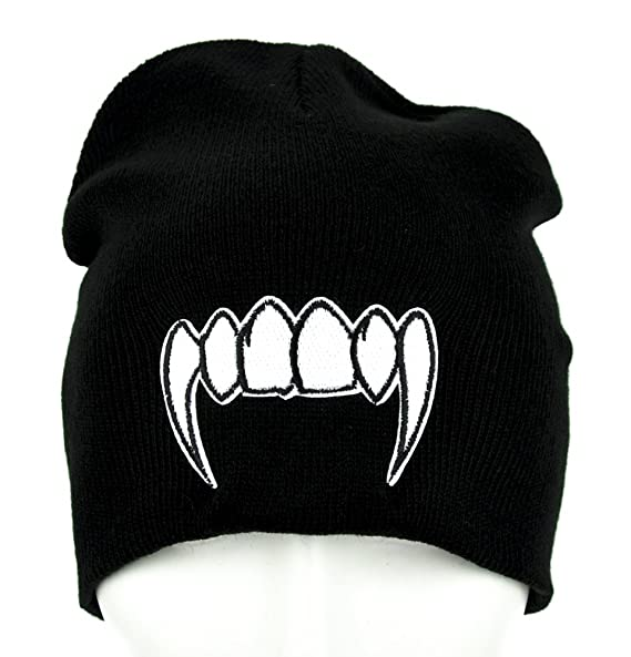 dbfcd080b8d Image Unavailable. Image not available for. Color  White Vampire Fangs  Beanie Knit Cap Alternative Clothing ...