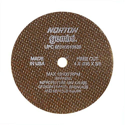 Norton 547-66243510630 Gemini Aluminum Oxide Type 01 Cutoff Wheel, 4'', 0.035'', 60 Grit, 3/8'', 19100 rpm (Pack of 25)
