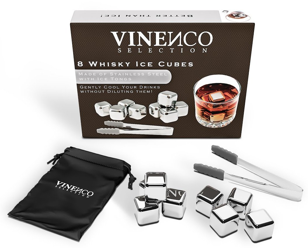 VINENCO Whisky Ice Cubes Gift Set + Storage Pouch 8 Reusable ...