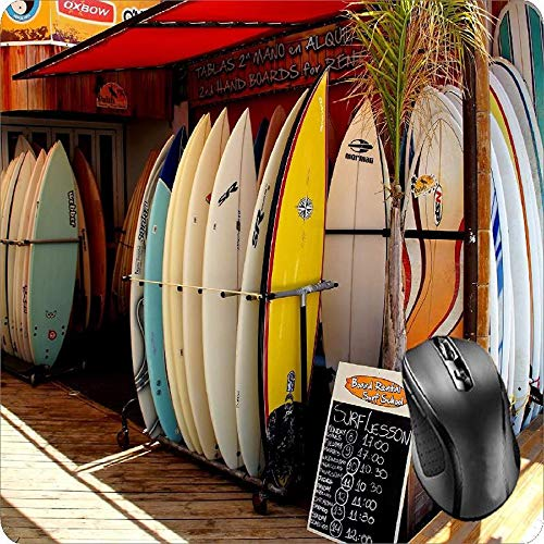 Amazon.com : BGLKCS Mouse Pad Fabric Topped Rubber Backed Surf Shop Wave Rental Board Ocean Sea Hawaii : Office Products