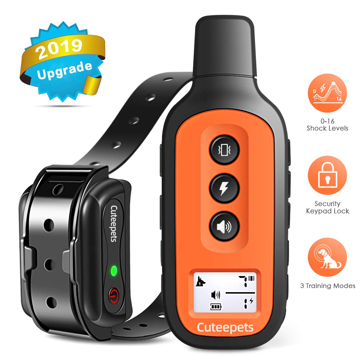 Dog Training Collar-2019 Newest Shock Collar for Dogs with 3 Training Modes, Beep, Vibration and Shock, UP to 1600FT Remote Range, Rechargeable & IPX7 WaterProof, 0-16 Shock Levels Dog Training Set by Cuteepets