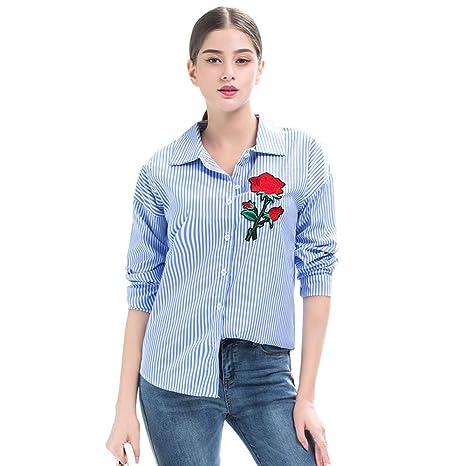 781f1e42a3 Cnsdy Camisas de Mujer Bordado Largo Medio Solapas OL Commuter Suelta Joker  Camisetas. Pasa el ratón por encima de la imagen para ampliarla