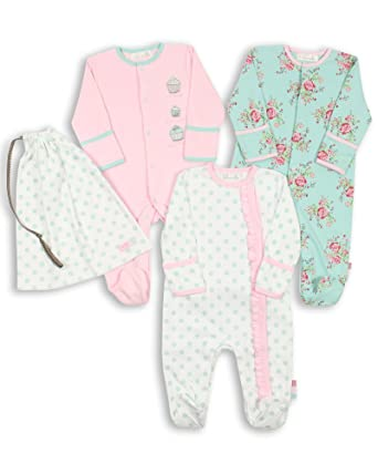 Amazon Com The Essential One Baby Girls Pack Of 3 Floral Footie