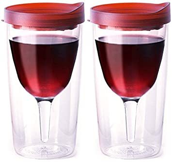 vino2go double wall insulated acrylic wine tumbler with merlot slide top drink lid 10 oz