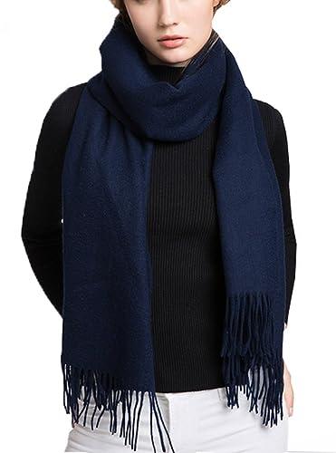 Sciarpa invernale da donna Wander Agio, lunga e larga, in caldo filato di lana con frange, da usare ...