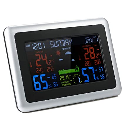 KKmoon higrómetro, reloj meteorológica color con pantalla LCD, termómetro, higrómetro interior y exterior