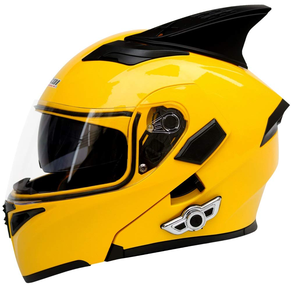 TOMSSL高品質 電動オートバイヘルメット車のBluetoothヘルメットダブルレンズオープンフェイスヘルメットオートバイヘルメット付き角 - 黄色 - 大 TOMSSL高品質 (Size : S) Small  B07SMDVY2L