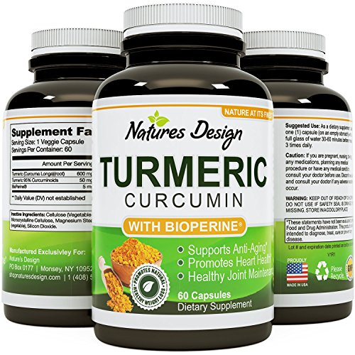 Turmeric Curcumin with Bioperine Black Pepper Extract With 95% Curcuminoids Vitamin B6 Manganese & Iron -Powerful Pain Relief Increased Energy & Bone Health Support For Women & Men By Natures Design
