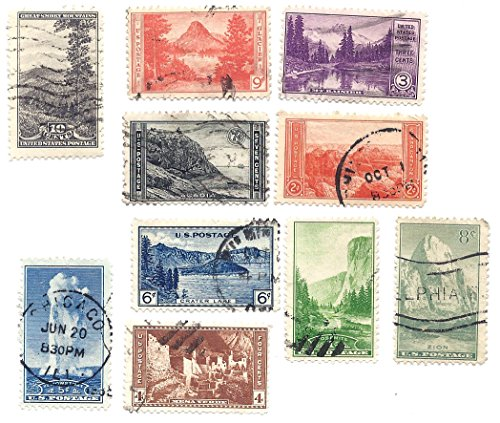 Scott 740 to 749 - US Stamp - 1934 - 1c to 10c National Parks Year Issue - 7 Different Single Stamps