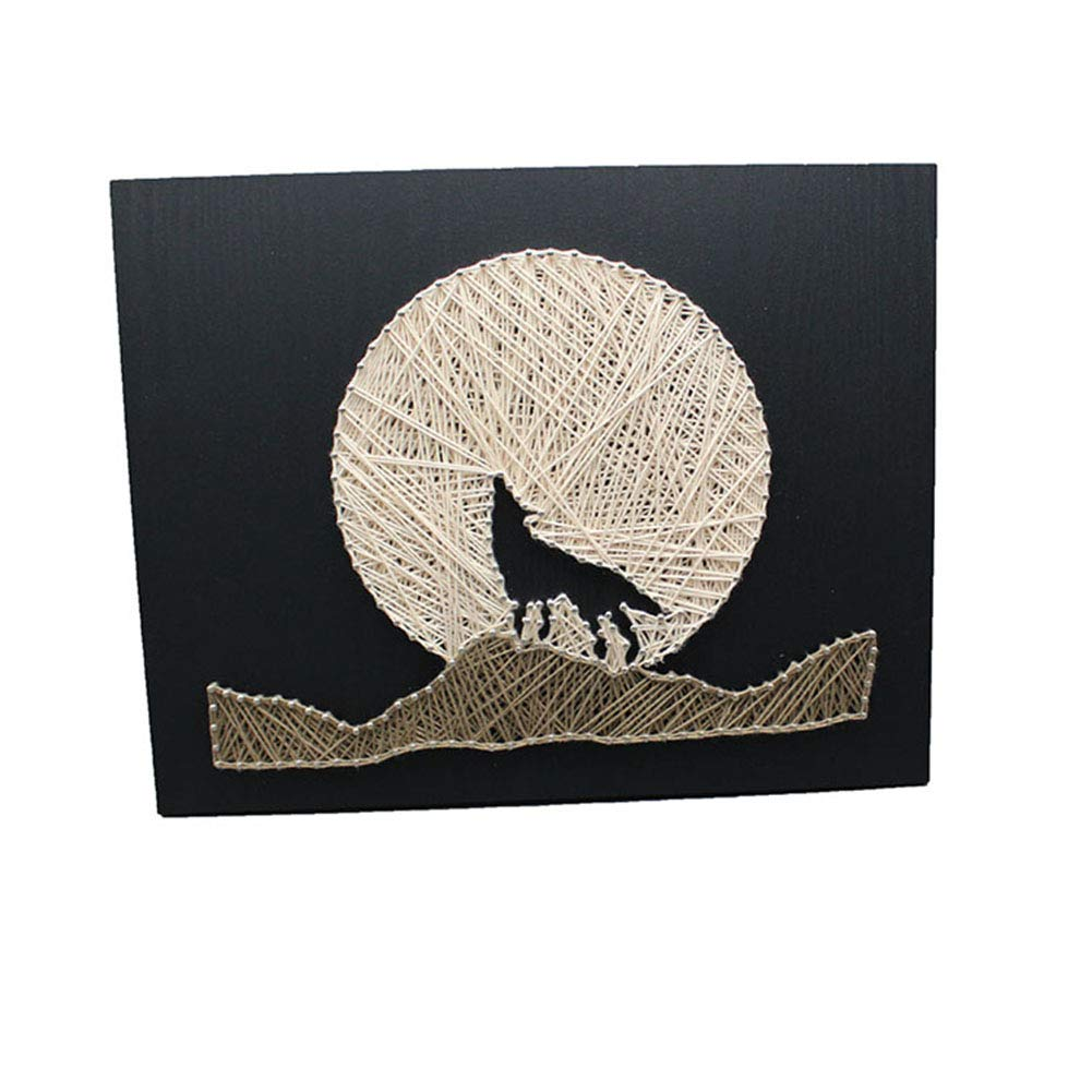 DIY Thread Winding Three-Dimensional Night Wolf Decorative Painting, Home Decor Mural DIY Material Package Decompression Tabletop Decoration Ornament, Parent-Child Manual Interactive Game