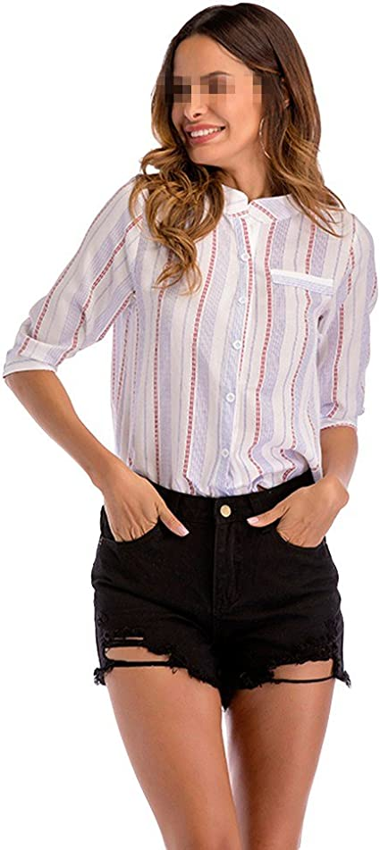 OULII Mujeres Stripes Top Tres cuartos Mangas Camisetas ...