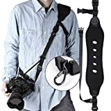 Latitude 22 Camera Neck Shoulder Strap Neoprene with Quick Release and Safety Tether for DSLR Camera Canon Nikon Sony, Black
