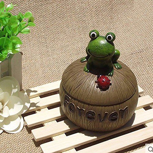 Mix&Max Creative Resin Ashtray with Lid, Ash Tray Holder Cigarettes Decor Tray for Home Office Tabletop Decoration and Smoker,Frog