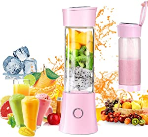 Portable Blender,Household Personal Smoothie Blender Mini Juicer Cup 480ML Fruit Juice Mixer with USB Rechargeable and 6 PCS Stainless Steel Blades (Pink)