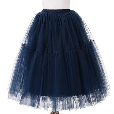 Yeshi - Falda - para niña Azul Azul Marino Talla única: Amazon.es ...