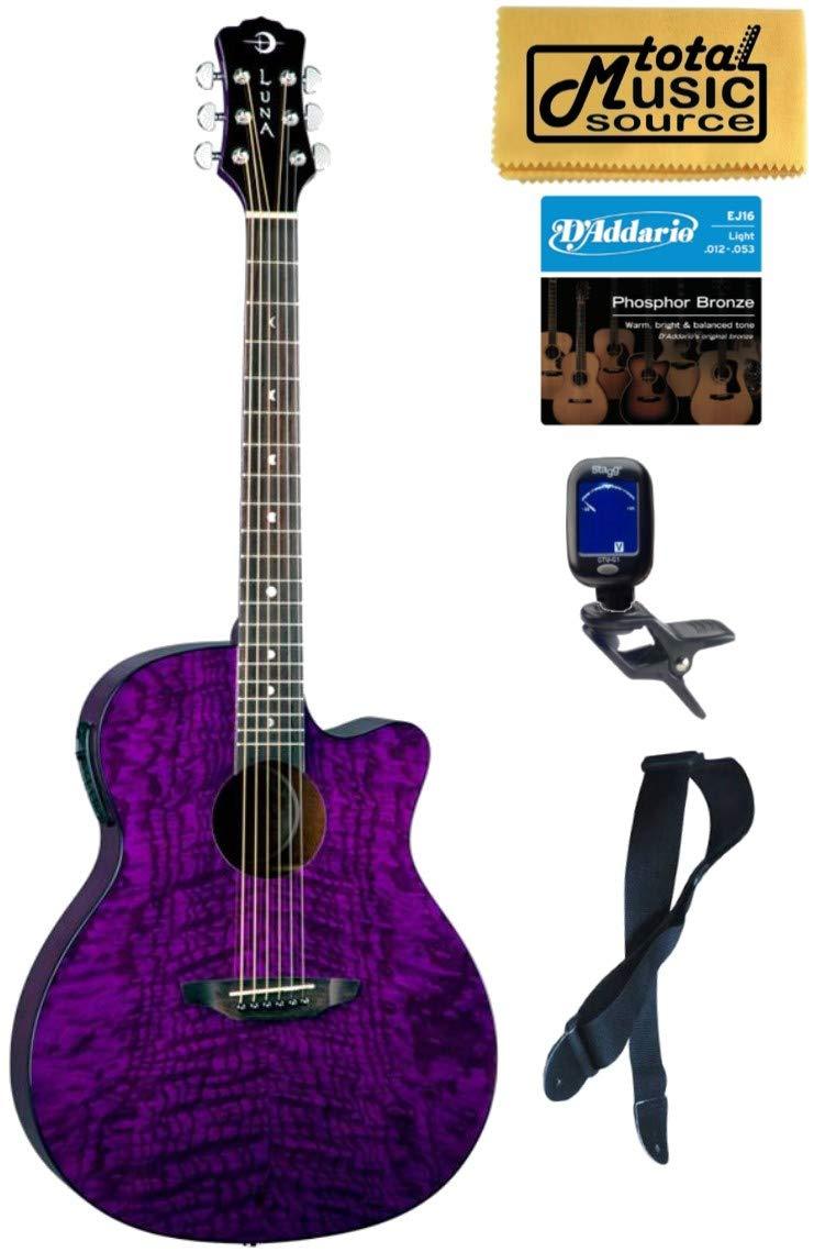 Luna GYP E QA TPP Gypsy Quilt Ash Trans Purple A/E Guitar Bundle