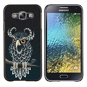 LECELL--Funda protectora / Cubierta / Piel For Samsung Galaxy E5 E500 -- Linda del búho de cuernos --
