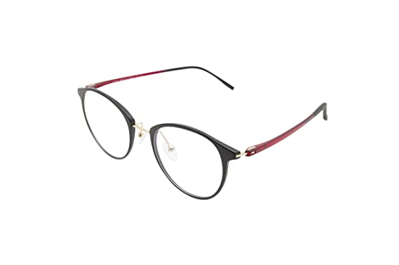 3aecd41c9bf XYAS round fashion TR90 women glasses frames super light clear lens fashion  nose pads (Black-Red)  Amazon.co.uk  Clothing