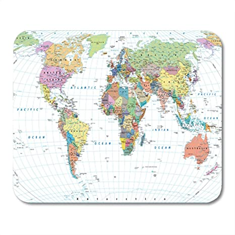 Semtomn Gaming Mouse Pad Colored World Map Borders Countries Roads and  Cities Isolated on 9.5\