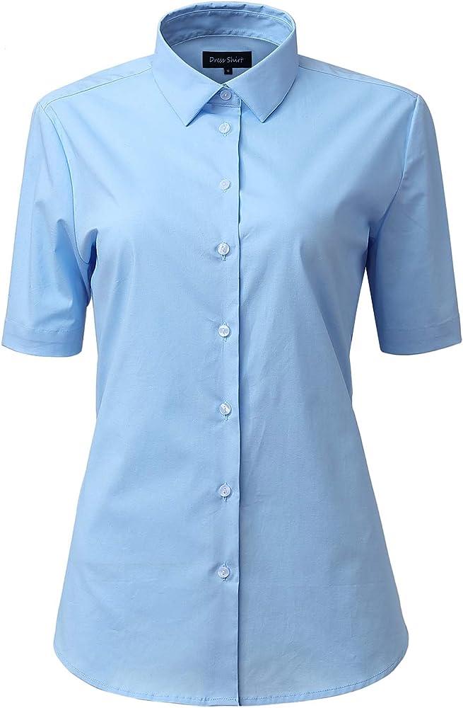 Camisa Mujer de Vestir Elástica, Manga Corta Color Liso, Camisetas Mujer Formal/Casual Verano, Celeste, 41 (Talla del Fabricante 12): Amazon.es: Ropa y accesorios