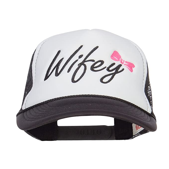 afe768f6ff1 E4hats Wifey Ribboned Embroidered Foam Mesh Cap - Black White OSFM at Amazon  Women s Clothing store