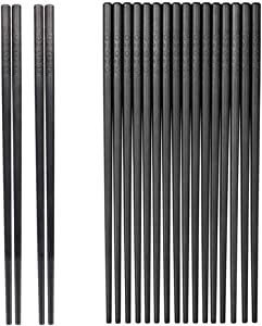 10-Pairs Fiberglass Chopsticks - Reusable Chopsticks Dishwasher Safe, 9 1/2 Inches By JSDOIN (Fiberglass Chopsticks) (Classic Black)