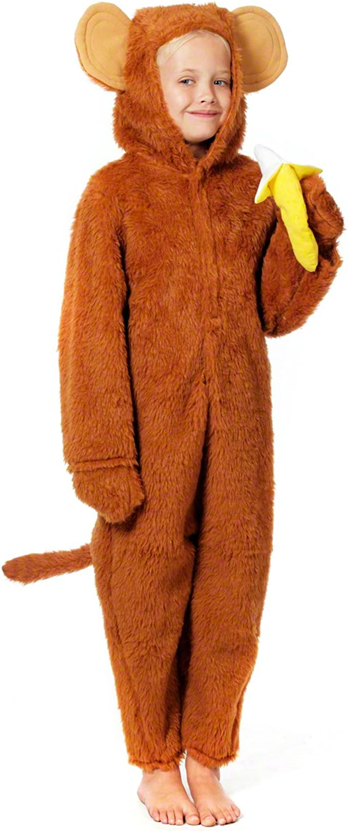 All in One with Hood - Tiger Costume COST-M NEW Size: Large Age 10-12 Brown